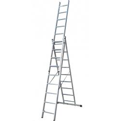 Лестница ELKOP VHR Trend 3x9 алюминиевая, 3 секции, 9 ступеней (VHRT3*9)